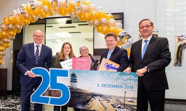 Der 25 – Millionste Passagier am Flughafen Wien feierlich empfangen